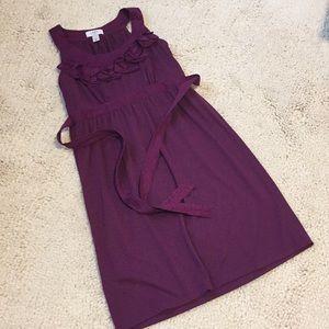 Loft Purple Dress with Ruffle